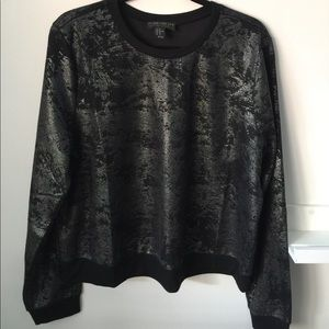 Abstract-Patterned Metallic Knit Top
